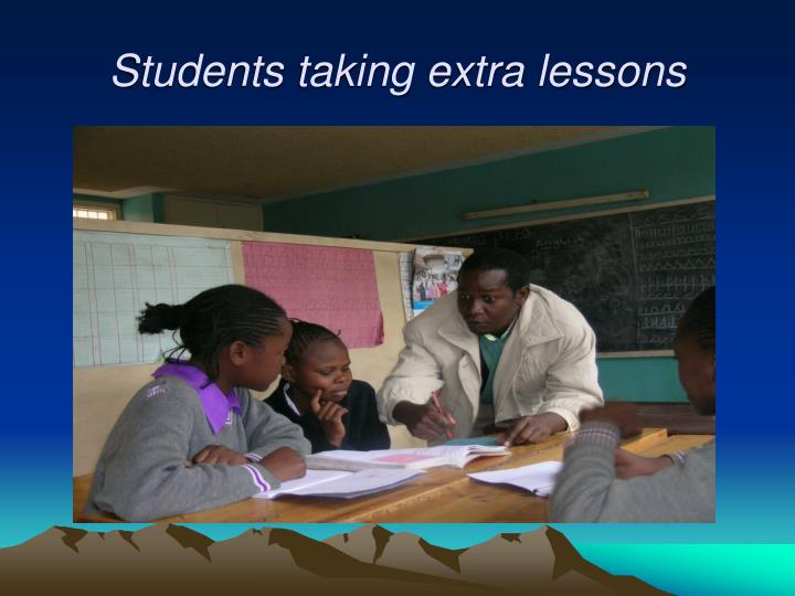 Students taking extra lessons