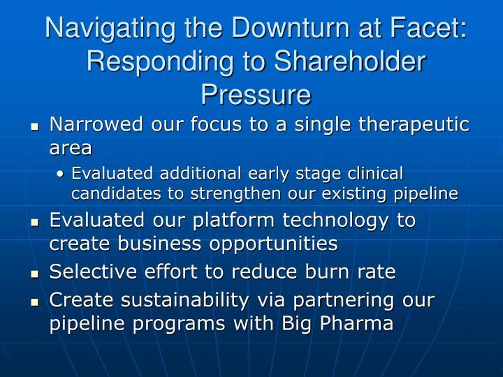 Navigating the downturn at facet responding to shareholder pressure