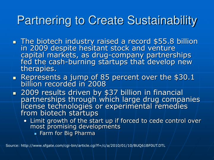 Partnering to Create Sustainability