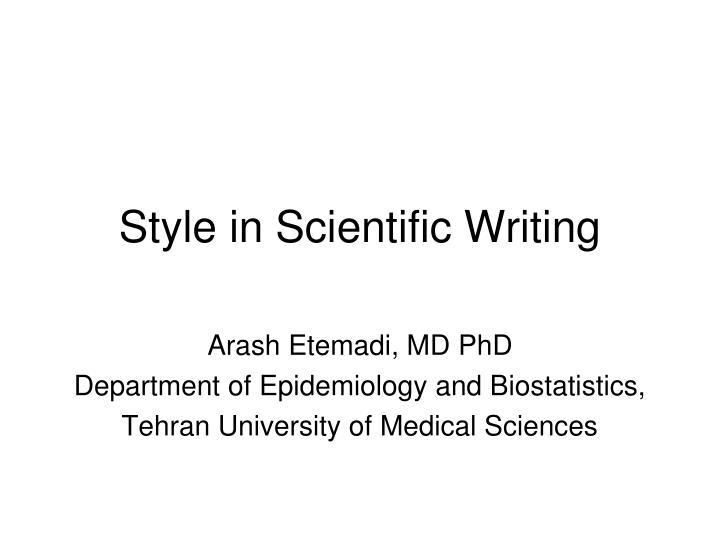 style in scientific writing n.