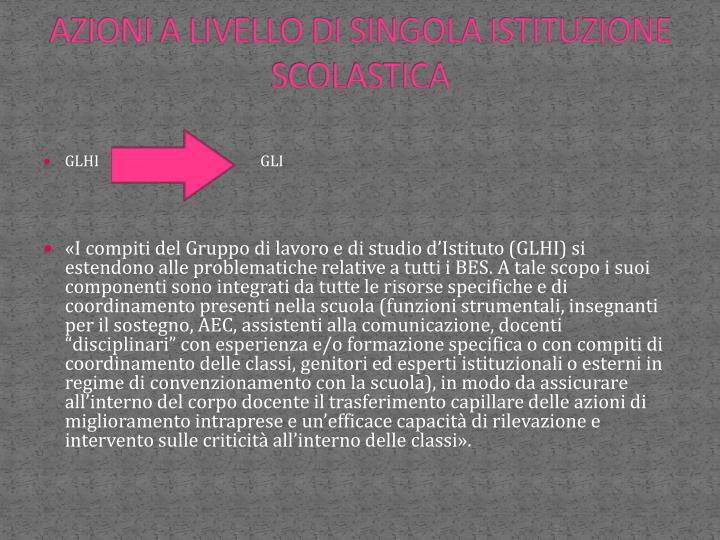 AZIONI A LIVELLO DI SINGOLA ISTITUZIONE SCOLASTICA