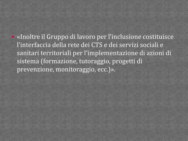 «Inoltre il Gruppo di lavoro per l'inclusione costituisce l'interfaccia della rete dei CTS e dei servizi sociali e sanitari territoriali per l'implementazione di azioni di sistema (formazione, tutoraggio, progetti di prevenzione, monitoraggio, ecc.)».