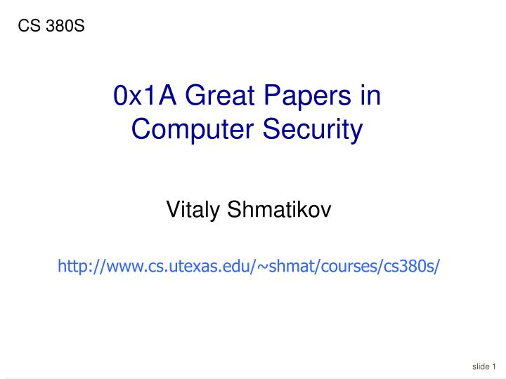 0x1a great papers in computer security
