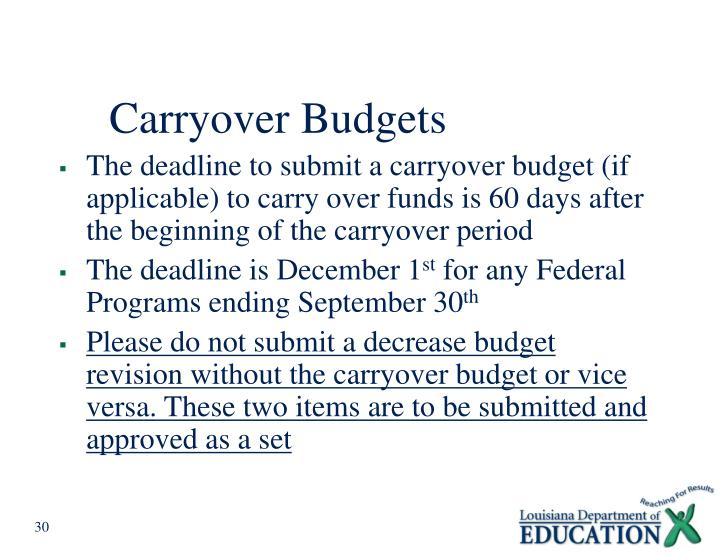 Carryover Budgets