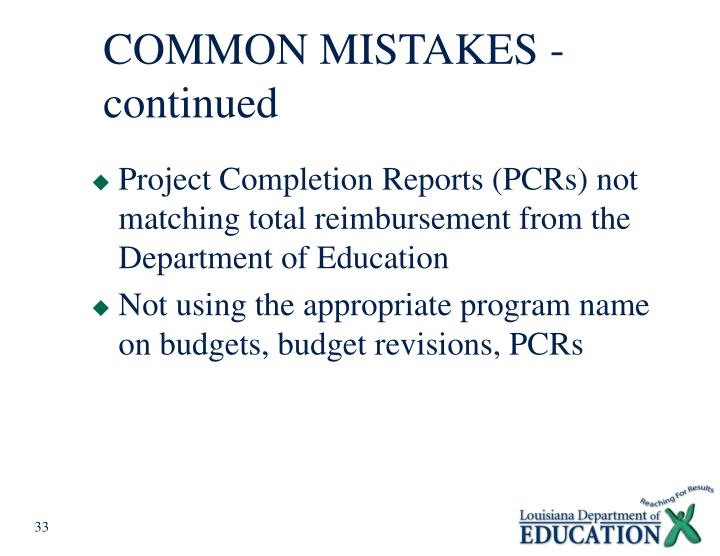COMMON MISTAKES - continued