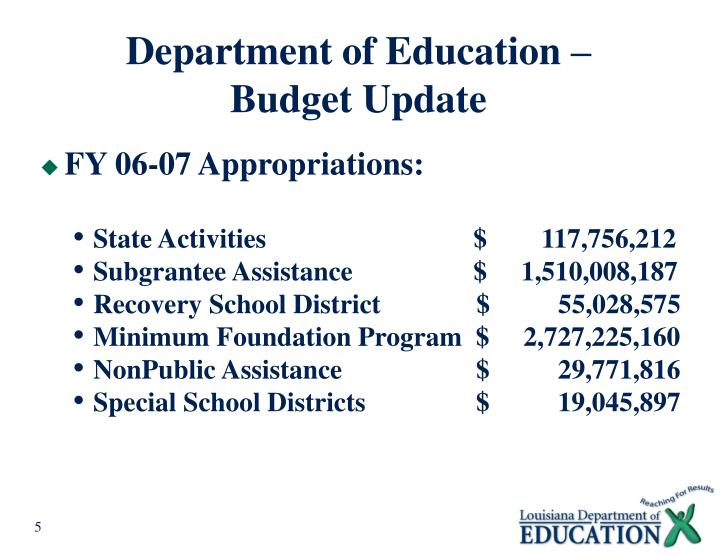 Department of Education –