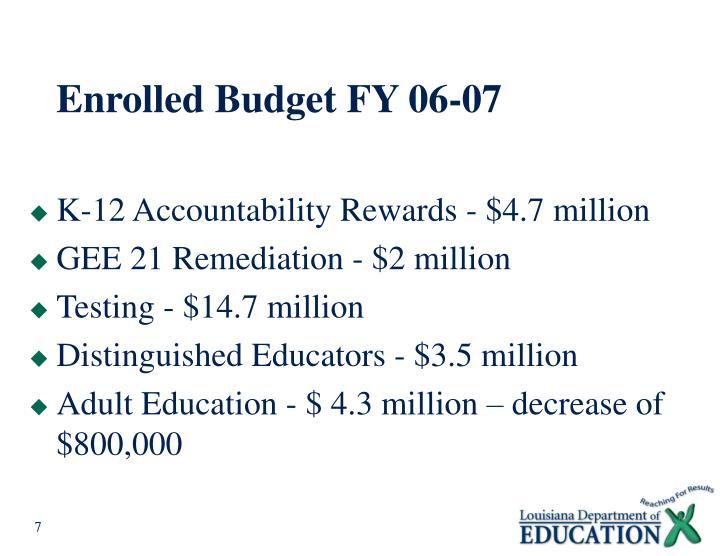 Enrolled Budget FY 06-07