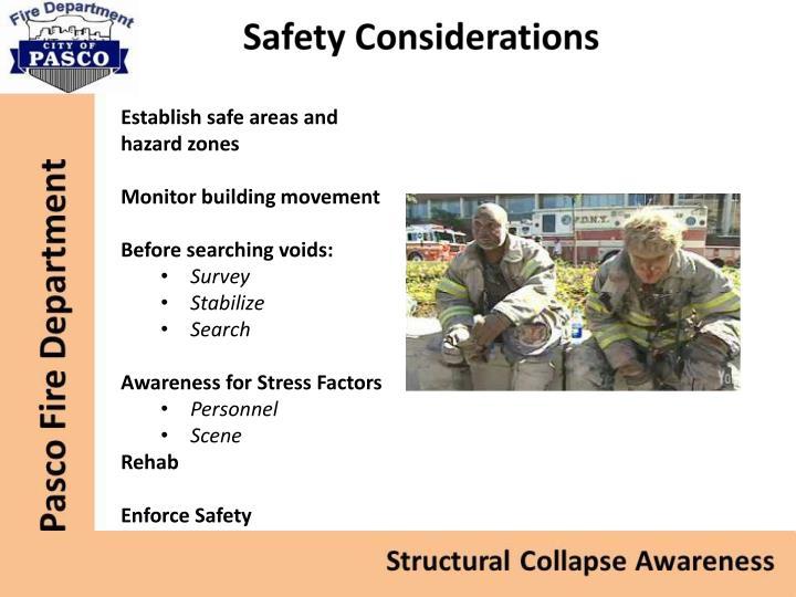 Establish safe areas and hazard zones