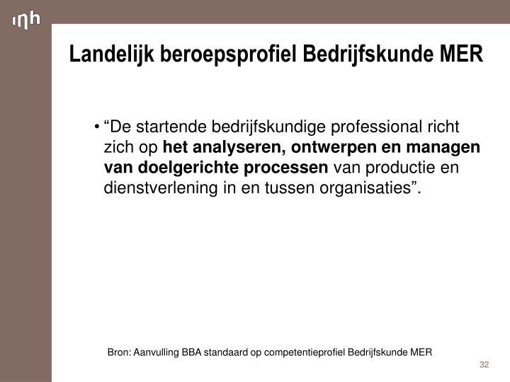 Landelijk beroepsprofiel Bedrijfskunde MER