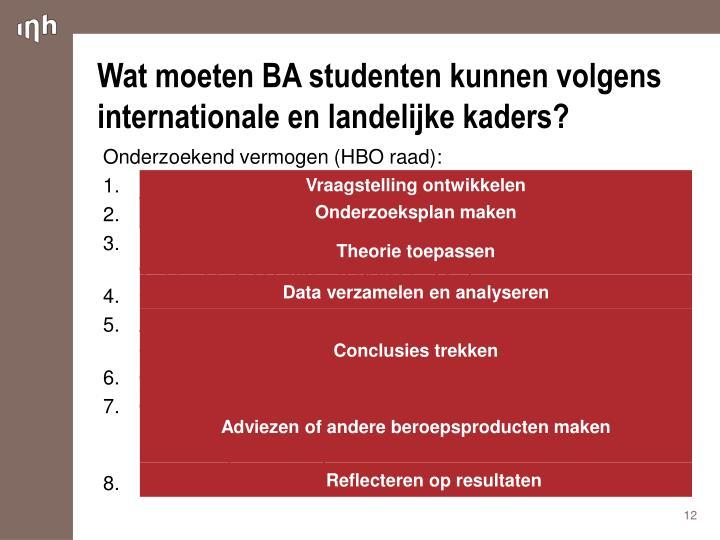Wat moeten BA studenten kunnen volgens internationale en landelijke kaders?