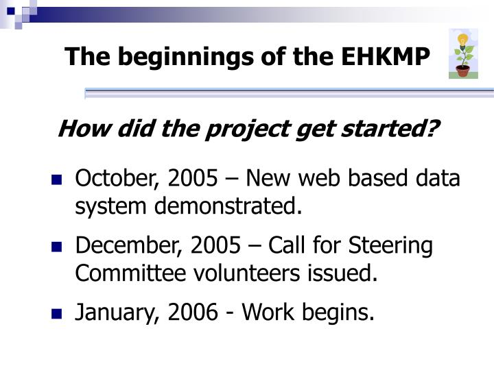 The beginnings of the ehkmp