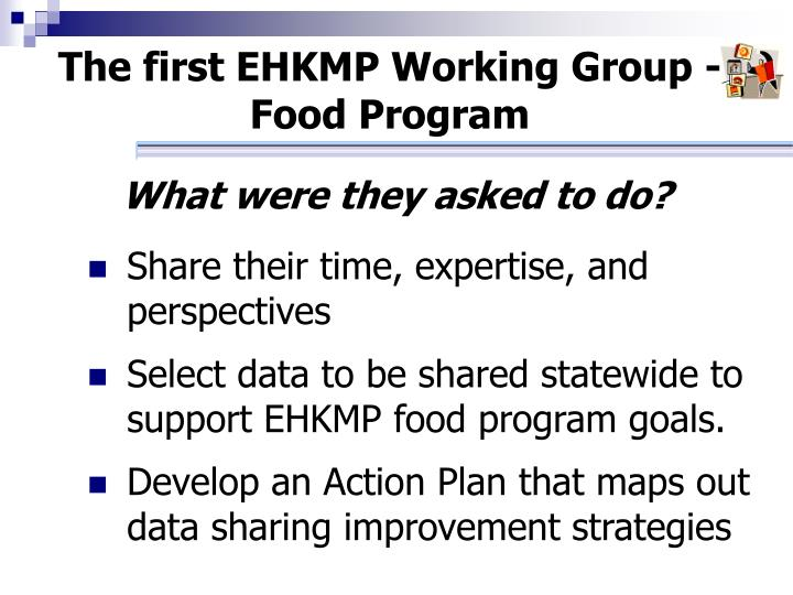 The first EHKMP Working Group - Food Program