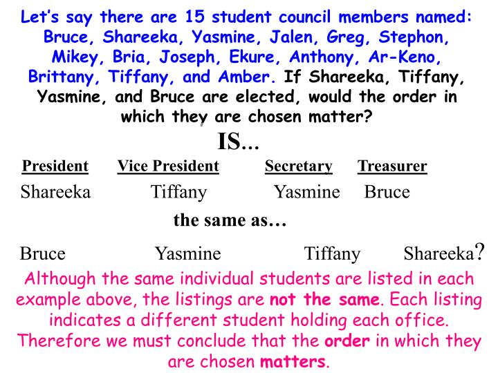 Let's say there are 15 student council members named:  Bruce, Shareeka, Yasmine, Jalen, Greg, Step...