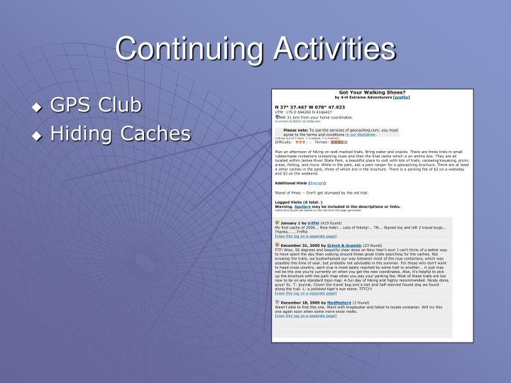 Continuing Activities