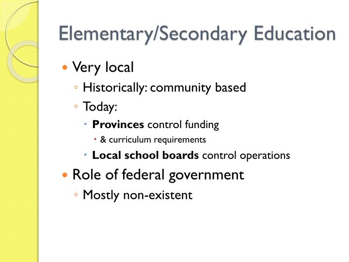 Elementary secondary education