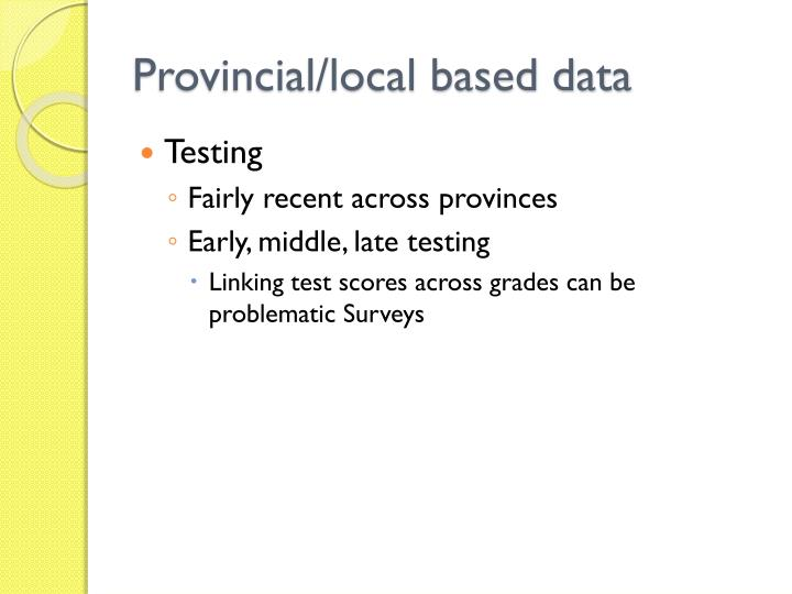 Provincial/local based data