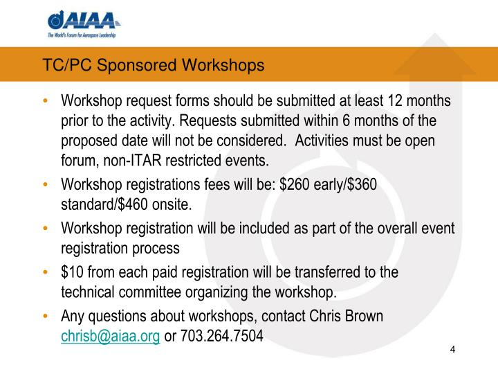 TC/PC Sponsored Workshops