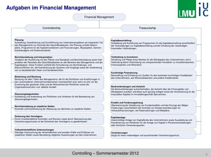 Aufgaben im Financial Management