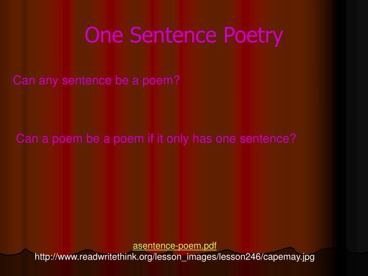 One Sentence Poetry