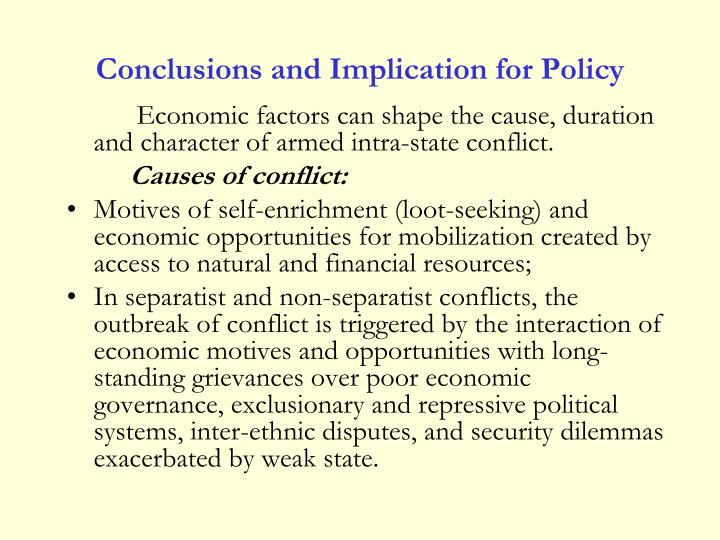 Conclusions and Implication for Policy