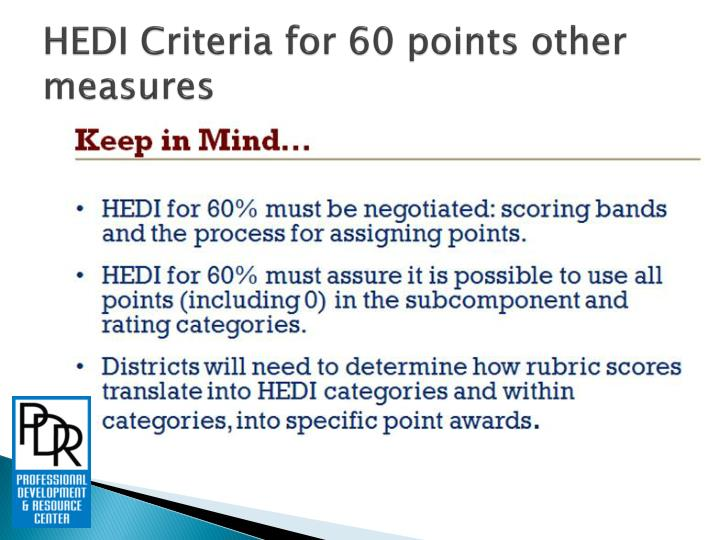 HEDI Criteria for 60 points other measures