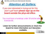 attention all golfers