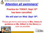 attention all swimmers