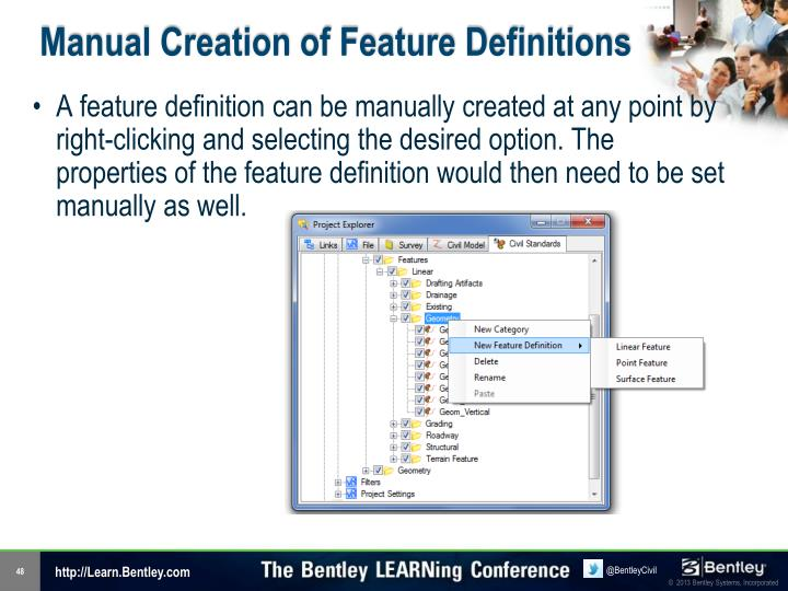 Manual Creation of Feature Definitions