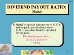 dividend payout ratio mattel