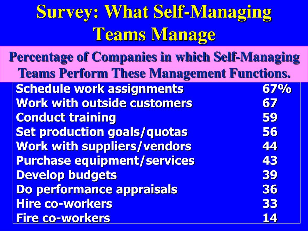 ppt survey what self managing teams manage powerpoint
