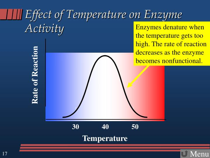 Enzymes denature when the temperature gets too high. The rate of reaction decreases as the enzyme becomes nonfunctional.
