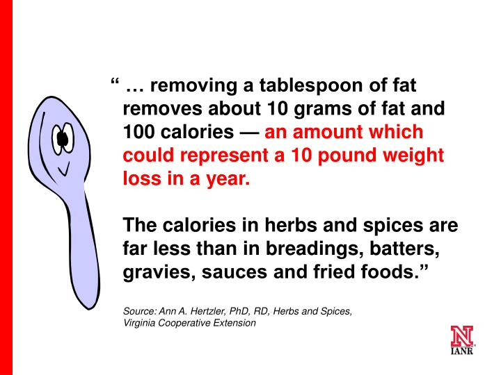 """"""" … removing a tablespoon of fat removes about 10 grams of fat and 100 calories"""