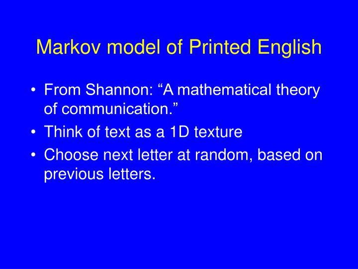 Markov model of Printed English