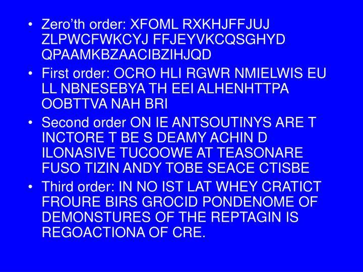 Zero'th order: XFOML RXKHJFFJUJ ZLPWCFWKCYJ FFJEYVKCQSGHYD QPAAMKBZAACIBZIHJQD