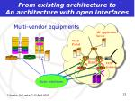 from existing architecture to an architecture with open interfaces