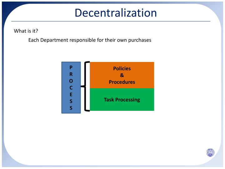 centralization vs decentralization in warehouse and When i was browsing the net, looking for more information regarding federated-, decentralized - and centralized datawarehouses, i came across a great article by dr berg herewith a brief summary of his article federated data warehouses are best in very large organization where development is.