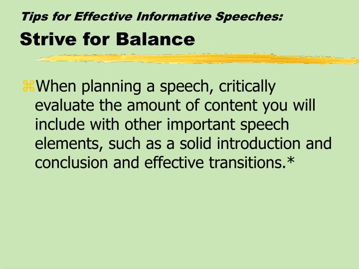 Tips for Effective Informative Speeches: