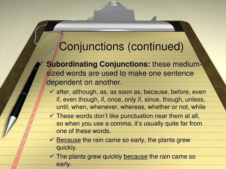 Conjunctions (continued)