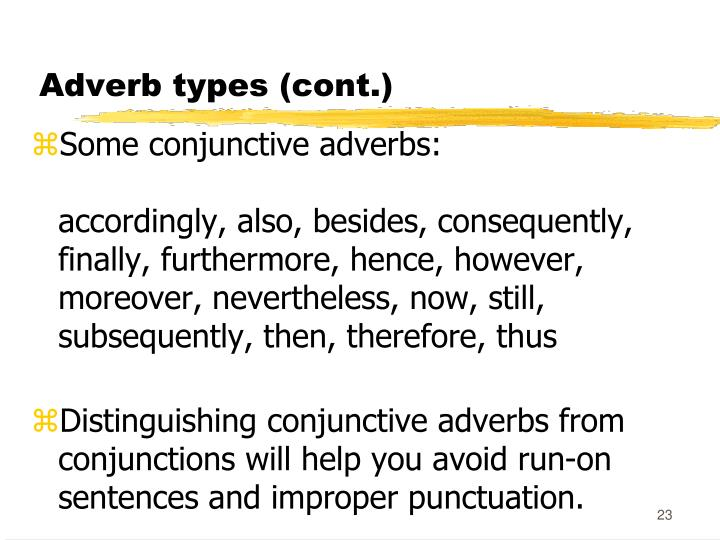 Adverb types (cont.)