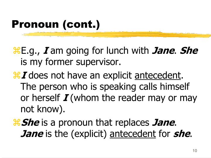 Pronoun (cont.)