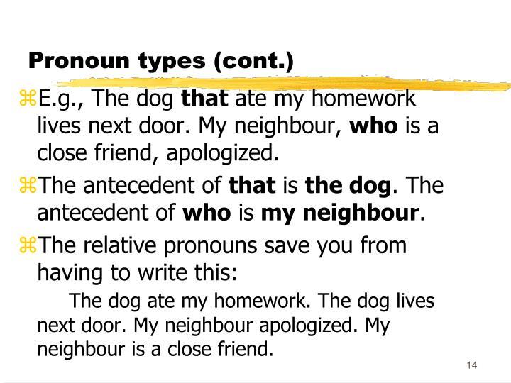 Pronoun types (cont.)