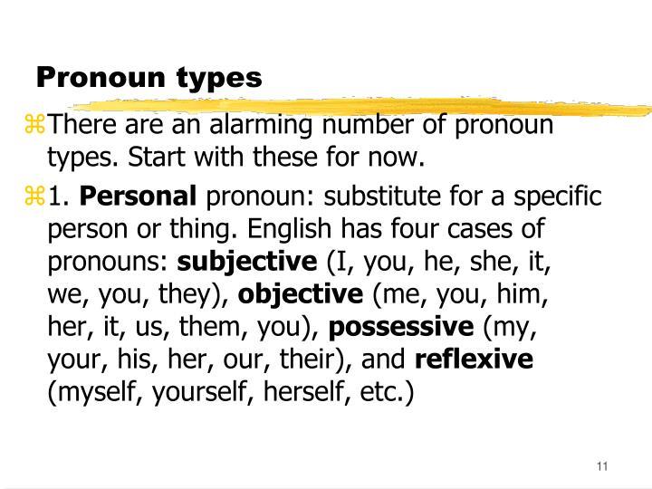 Pronoun types
