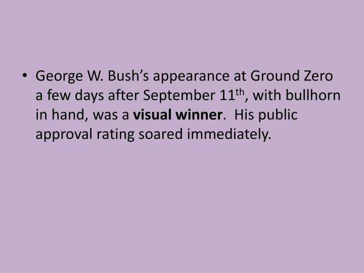 George W. Bush's appearance at Ground Zero a few days after September 11