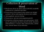 collection preservation of blood
