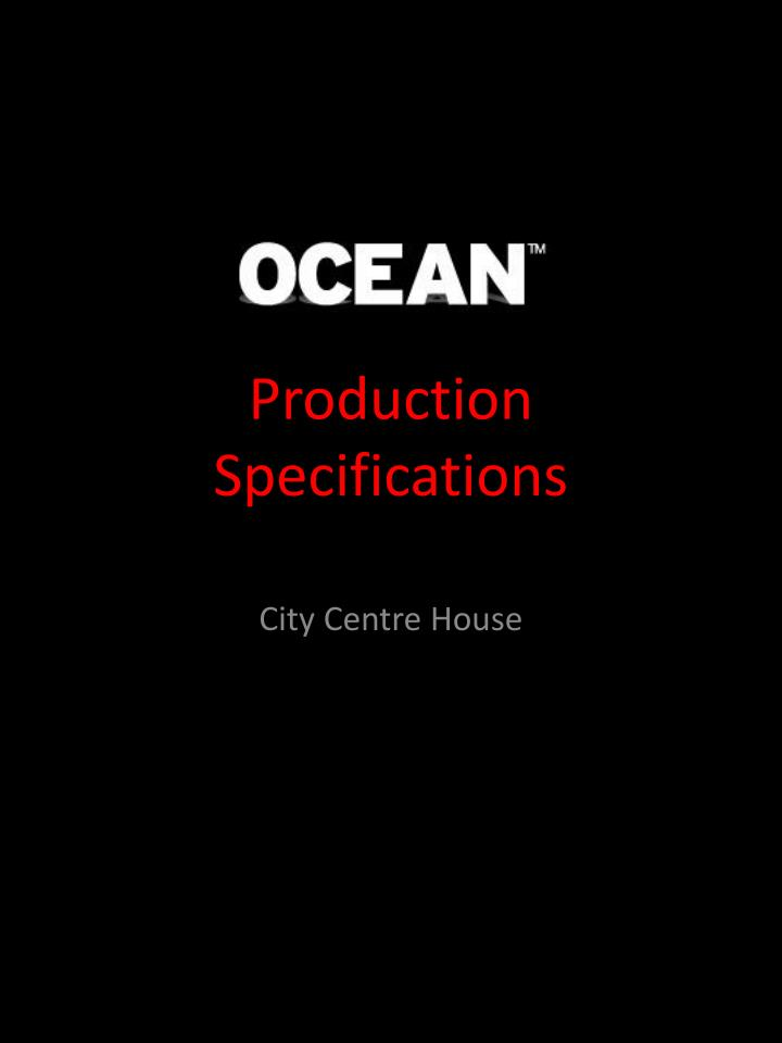 production specifications n.