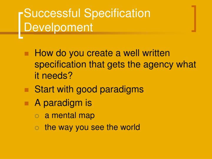 Successful Specification Develpoment