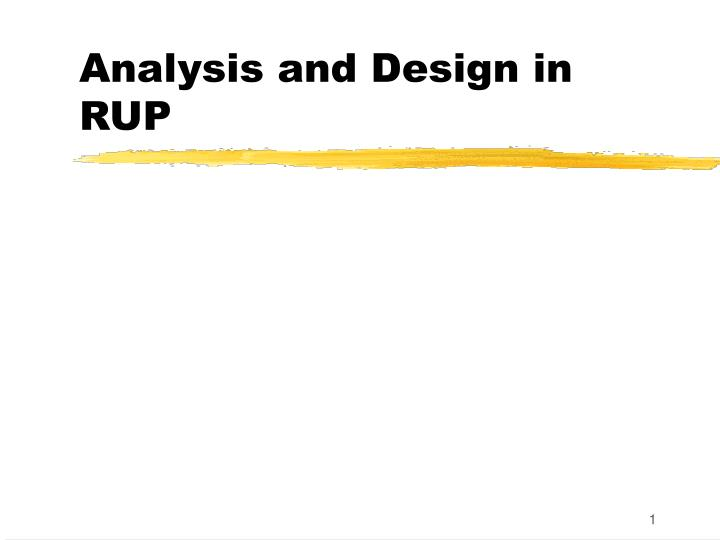 analysis and design in rup