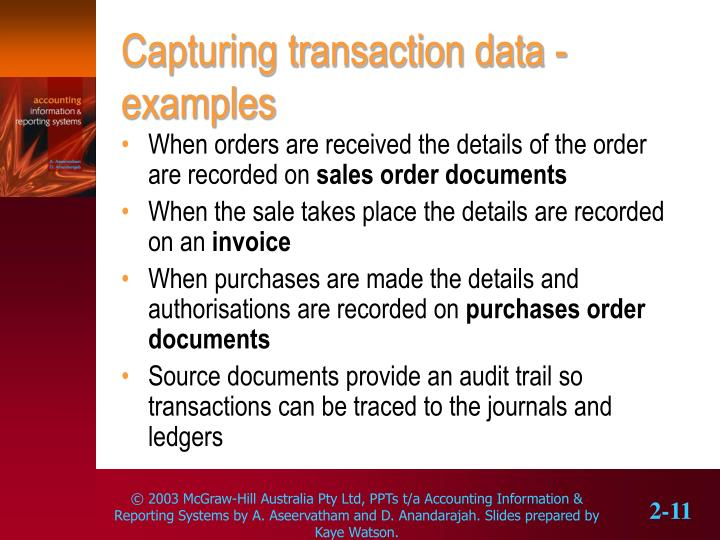 Capturing transaction data - examples