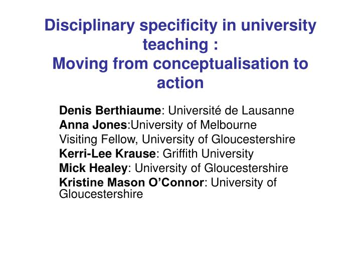 disciplinary specificity in university teaching moving from conceptualisation to action