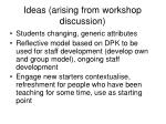 ideas arising from workshop discussion